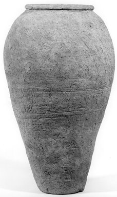 <em>Ovoid Storage Pot</em>, ca. 4400-3100 B.C.E. Clay, 14 3/4 x Greatest Diam. 8 3/4 in. (37.4 x 22.2 cm). Brooklyn Museum, Charles Edwin Wilbour Fund, 07.447.1300. Creative Commons-BY (Photo: Brooklyn Museum, CUR.07.447.1300_NegA_print_bw.jpg)