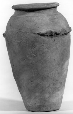 <em>Ovoid Jar with Handles</em>, ca. 3500 B.C.E.-3300 B.C.E. Clay, 9 3/4 x Greatest Diam. 6 1/2 in. (24.7 x 16.5 cm). Brooklyn Museum, Charles Edwin Wilbour Fund, 07.447.1311. Creative Commons-BY (Photo: Brooklyn Museum, CUR.07.447.1311_NegA_print_bw.jpg)