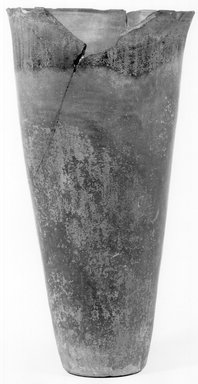 <em>Pot</em>, ca. 3800-3500 B.C.E. Clay, 9 13/16 x Diam. 5 3/8 in. (25 x 13.7 cm). Brooklyn Museum, Charles Edwin Wilbour Fund, 07.447.1313. Creative Commons-BY (Photo: Brooklyn Museum, CUR.07.447.1313_NegA_print_bw.jpg)
