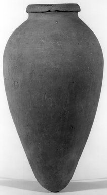 <em>Ovoid Jar</em>, ca. 3100-2675 B.C.E. Clay, 14 1/2 x Greatest diam. 7 13/16 in. (36.8 x 19.8 cm). Brooklyn Museum, Charles Edwin Wilbour Fund, 07.447.1328. Creative Commons-BY (Photo: Brooklyn Museum, CUR.07.447.1328_NegA_print_bw.jpg)