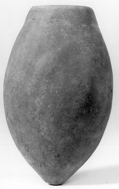 <em>Ovoid Jar</em>, ca. 3500-3300 B.C.E. Clay, 4 11/16 x Diam. 1 7/16 in. (11.9 x 3.6 cm). Brooklyn Museum, Charles Edwin Wilbour Fund, 07.447.1373. Creative Commons-BY (Photo: Brooklyn Museum, CUR.07.447.1373_NegA_print_bw.jpg)
