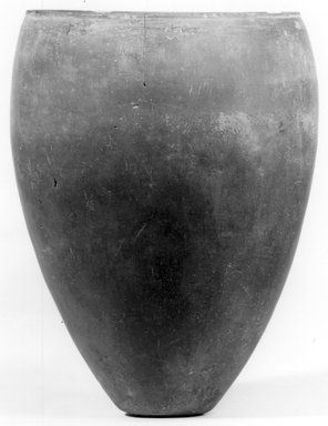 <em>Ovoid Jar</em>, ca. 3800-3500 B.C.E. Clay, 6 7/16 x Greatest Diam. 4 15/16 in. (16.4 x 12.6 cm). Brooklyn Museum, Charles Edwin Wilbour Fund, 07.447.1375. Creative Commons-BY (Photo: Brooklyn Museum, CUR.07.447.1375_NegA_print_bw.jpg)