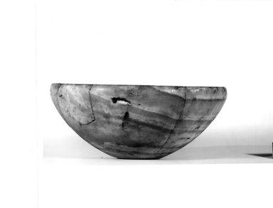 <em>Bowl</em>. Egyptian alabaster (calcite), 3 9/16 x Diam. 8 3/4 in. (9.1 x 22.2 cm). Brooklyn Museum, Charles Edwin Wilbour Fund, 07.447.14. Creative Commons-BY (Photo: Brooklyn Museum, CUR.07.447.14_NegA_print_bw.jpg)