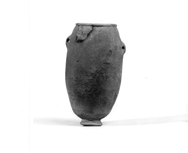 <em>Ovoid Jar</em>, ca. 3500-3300 B.C.E. Limestone, 5 3/16 x 3 1/8 in. (13.2 x 7.9 cm). Brooklyn Museum, Charles Edwin Wilbour Fund, 07.447.156. Creative Commons-BY (Photo: Brooklyn Museum, CUR.07.447.156_NegA_print_bw.jpg)