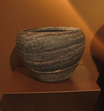 <em>Deep Bowl</em>, ca. 2800-2675 B.C.E. Anorthosite gneiss, 4 3/4 x Diam. 6 9/16 in. (12 x 16.6 cm). Brooklyn Museum, Charles Edwin Wilbour Fund, 07.447.180. Creative Commons-BY (Photo: Brooklyn Museum, CUR.07.447.180_erg3.jpg)
