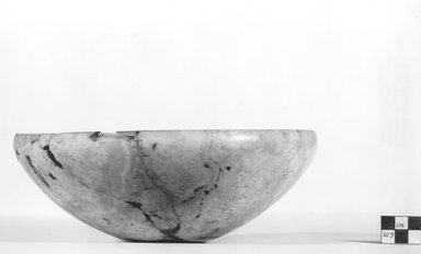 <em>Bowl</em>, ca. 3100-2675 B.C.E. Egyptian alabaster (calcite), 3 1/4 x Diam.  8 7/8 in. (8.2 x 22.6 cm). Brooklyn Museum, Charles Edwin Wilbour Fund, 07.447.23. Creative Commons-BY (Photo: Brooklyn Museum, CUR.07.447.23_NegA_print_bw.jpg)