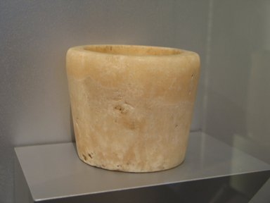 <em>Cylindrical Vessel or Stand for Offering Table</em>, ca. 2675-2170 B.C.E. Egyptian alabaster (calcite), 4 3/4 x Diam. 5 3/4 in. (12.1 x 14.6 cm). Brooklyn Museum, Charles Edwin Wilbour Fund, 07.447.28. Creative Commons-BY (Photo: Brooklyn Museum, CUR.07.447.28_erg2.jpg)