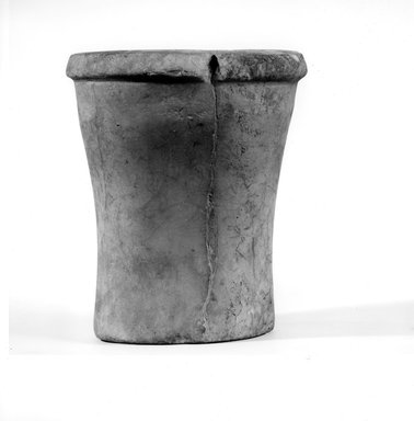 <em>Cylindrical Vase</em>, ca. 3100-2675 B.C.E. Egyptian alabaster (calcite), 6 5/16 x Diam. 5 3/8 in. (16 x 13.6 cm). Brooklyn Museum, Charles Edwin Wilbour Fund, 07.447.29. Creative Commons-BY (Photo: Brooklyn Museum, CUR.07.447.29_NegA_print_bw.jpg)