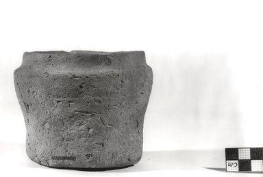 <em>Cylindrical Jar</em>, ca. 3100-2675 B.C.E. Clay, Measurements:  H. 9.1 cm, greatest diam. 11.5 cm, diam. of mouth 8.8 - 9.4 cm, diam. of base 8.7 cm. Brooklyn Museum, Charles Edwin Wilbour Fund, 07.447.311. Creative Commons-BY (Photo: Brooklyn Museum, CUR.07.447.311_NegA_print_bw.jpg)