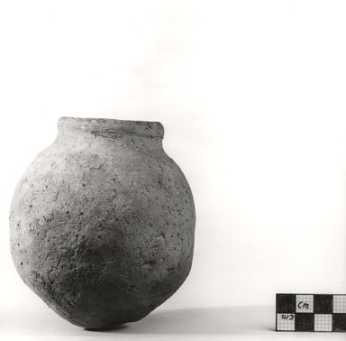 <em>Globular Pot</em>, ca. 3500-3300 B.C.E. Clay, Measurements:  H. 11.4 cm, greatest diam. 10.1 cm, diam. of mouth 4.5 x 4.2 cm. Brooklyn Museum, Charles Edwin Wilbour Fund, 07.447.323. Creative Commons-BY (Photo: Brooklyn Museum, CUR.07.447.323_NegA_print_bw.jpg)