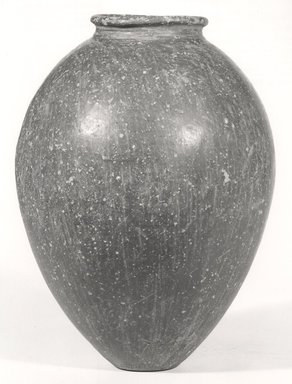 <em>Ovoid Jar</em>. Clay, 15 5/8 x Diam. 7 11/16 in. (39.7 x 19.5 cm). Brooklyn Museum, Charles Edwin Wilbour Fund, 07.447.327. Creative Commons-BY (Photo: Brooklyn Museum, CUR.07.447.327_NegA_print_bw.jpg)