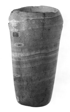 <em>Squat Globular Vase</em>, ca. 3300-3100 B.C.E. Clay, 4 3/4 x Diam. 5 5/8 in. (12.1 x 14.3 cm). Brooklyn Museum, Charles Edwin Wilbour Fund, 07.447.343. Creative Commons-BY (Photo: Brooklyn Museum, CUR.07.447.343_NegB_print_bw.jpg)