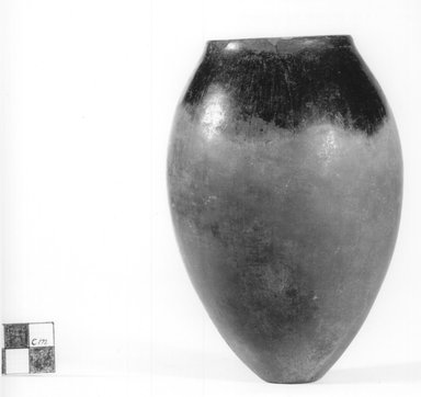 <em>Ovoid Vase</em>, ca. 3800-3500 B.C.E. or ca. 3500-3300 B.C.E. Clay, 5 3/8 x Diam. 3 11/16 in. (13.6 x 9.3 cm). Brooklyn Museum, Charles Edwin Wilbour Fund, 07.447.348. Creative Commons-BY (Photo: Brooklyn Museum, CUR.07.447.348_NegA_print_bw.jpg)