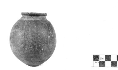 <em>Globular Vase</em>, ca. 3500-3300 B.C.E. Clay, 3 1/2 x Diam. 3 1/8 in. (8.9 x 7.9 cm). Brooklyn Museum, Charles Edwin Wilbour Fund, 07.447.353. Creative Commons-BY (Photo: Brooklyn Museum, CUR.07.447.353_NegA_print_bw.jpg)