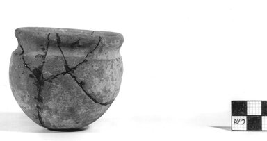 <em>Globular Pot</em>, ca. 3100-2675 B.C.E. Clay, 2 5/8 x Diam. 2 15/16 in. (6.6 x 7.5 cm). Brooklyn Museum, Charles Edwin Wilbour Fund, 07.447.354. Creative Commons-BY (Photo: Brooklyn Museum, CUR.07.447.354_NegA_print_bw.jpg)