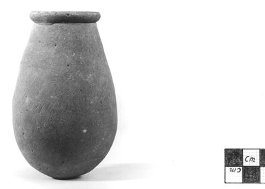 <em>Gourd-Shaped Jar</em>, ca. 3100-2675 B.C.E. Clay, 3 7/8 x Diam. 2 1/2 in. (9.8 x 6.3 cm). Brooklyn Museum, Charles Edwin Wilbour Fund, 07.447.372. Creative Commons-BY (Photo: Brooklyn Museum, CUR.07.447.372_NegA_print_bw.jpg)