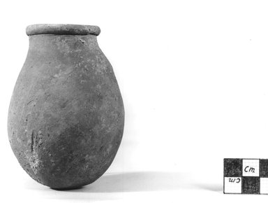 <em>Gourd-Shaped Bottle</em>, ca. 3100-2675 B.C.E. Clay, 3 11/16 x Diam. 2 11/16 in. (9.4 x 6.8 cm). Brooklyn Museum, Charles Edwin Wilbour Fund, 07.447.373. Creative Commons-BY (Photo: Brooklyn Museum, CUR.07.447.373_NegA_print_bw.jpg)