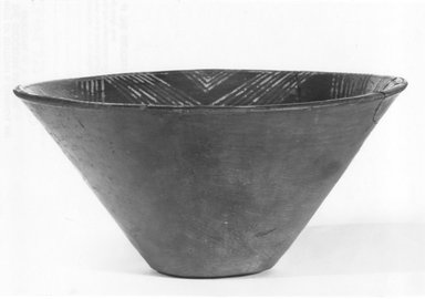 <em>Deep Bowl</em>, ca. 3800-3500 B.C.E. Clay, 3 7/16 x 7 9/16 in. (8.8 x 19.2 cm). Brooklyn Museum, Charles Edwin Wilbour Fund, 07.447.397. Creative Commons-BY (Photo: Brooklyn Museum, CUR.07.447.397_NegD_print_bw.jpg)