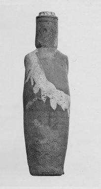 <em>Bottle in Form of Standing Woman</em>, ca. 1539-1190 B.C.E. Clay, pigment, 12 5/16 x Diam. 3 11/16 in. (31.2 x 9.3 cm). Brooklyn Museum, Charles Edwin Wilbour Fund, 07.447.400. Creative Commons-BY (Photo: Brooklyn Museum, CUR.07.447.400_negB_print.jpg)