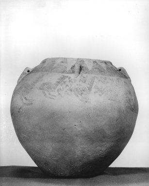 <em>Painted Jar with String-Hole Handles</em>, ca. 3400-3300 B.C.E. Clay, pigment, 6 15/16 x Diam. 7 11/16 in. (17.7 x 19.5 cm). Brooklyn Museum, Charles Edwin Wilbour Fund, 07.447.402. Creative Commons-BY (Photo: Brooklyn Museum, CUR.07.447.402_NegB_print_bw.jpg)