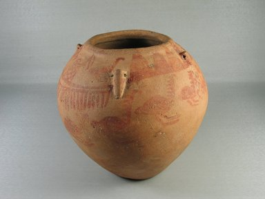 <em>Painted Jar with String-Hole Handles</em>, ca. 3400-3300 B.C.E. Clay, pigment, 6 15/16 x Diam. 7 11/16 in. (17.7 x 19.5 cm). Brooklyn Museum, Charles Edwin Wilbour Fund, 07.447.402. Creative Commons-BY (Photo: Brooklyn Museum, CUR.07.447.402_view02.jpg)