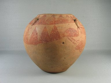 <em>Painted Jar with String-Hole Handles</em>, ca. 3400-3300 B.C.E. Clay, pigment, 6 15/16 x Diam. 7 11/16 in. (17.7 x 19.5 cm). Brooklyn Museum, Charles Edwin Wilbour Fund, 07.447.402. Creative Commons-BY (Photo: Brooklyn Museum, CUR.07.447.402_view06.jpg)