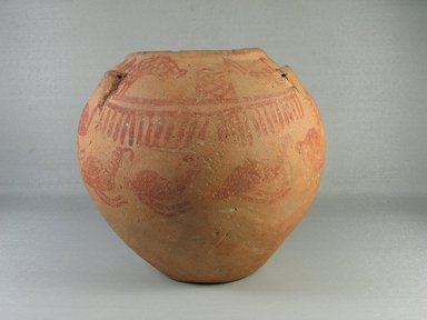 <em>Painted Jar with String-Hole Handles</em>, ca. 3400-3300 B.C.E. Clay, painted, 6 15/16 x Diam. 7 11/16 in. (17.7 x 19.5 cm). Brooklyn Museum, Charles Edwin Wilbour Fund, 07.447.402. Creative Commons-BY (Photo: Brooklyn Museum, CUR.07.447.402_view09.jpg)