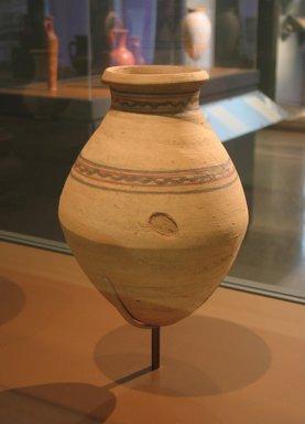 <em>Storage Jar</em>, ca. 1539-1493 B.C.E. Clay, pigment, 10 9/16 x Diam. 7 1/2 in. (26.8 x 19 cm). Brooklyn Museum, Charles Edwin Wilbour Fund, 07.447.449. Creative Commons-BY (Photo: Brooklyn Museum, CUR.07.447.449_erg456.jpg)