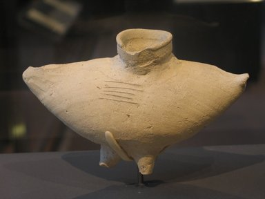 <em>Vessel in Form of Bird's Body</em>, ca. 1630-1539 B.C.E. Clay, 4 5/8 x 3 3/16 x 7 1/2 x 1 1/2 in. (11.7 x 8.1 x 19 x 3.8 cm). Brooklyn Museum, Charles Edwin Wilbour Fund, 07.447.458. Creative Commons-BY (Photo: Brooklyn Museum, CUR.07.447.458_erg2.jpg)