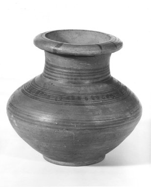 <em>Jar with Squat Body</em>, ca. 1400-1390 B.C.E. Clay, pigment, 4 5/8 x Diam. 4 13/16 in. (11.7 x 12.3 cm). Brooklyn Museum, Charles Edwin Wilbour Fund, 07.447.469. Creative Commons-BY (Photo: Brooklyn Museum, CUR.07.447.469_NegA_print_bw.jpg)