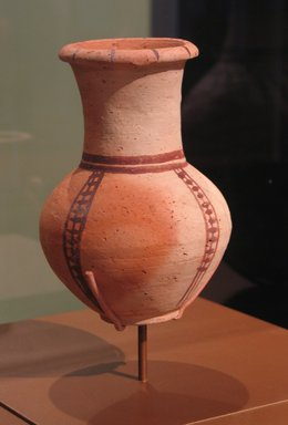 <em>Pitcher Imitating Cypriot and Western Asiatic Jug</em>, ca. 1470-1400 B.C.E. Clay, pigment, 7 1/16 x Diam. 4 15/16 in. (17.9 x 12.5 cm). Brooklyn Museum, Charles Edwin Wilbour Fund, 07.447.473. Creative Commons-BY (Photo: Brooklyn Museum, CUR.07.447.473_erg456.jpg)