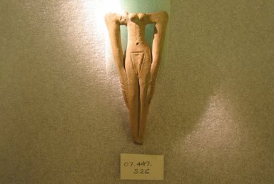 <em>Figurine of Woman</em>, ca. 2008-1352 B.C.E. Clay, 4 7/16 x 2 in. (11.2 x 5.1 cm). Brooklyn Museum, Charles Edwin Wilbour Fund, 07.447.526. Creative Commons-BY (Photo: Brooklyn Museum, CUR.07.447.526.jpg)