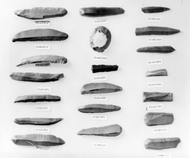 <em>Narrow Blade</em>, ca. 4400-3100 B.C.E. Chert, 7/8 x 3 7/8 in. (2.2 x 9.8 cm). Brooklyn Museum, Charles Edwin Wilbour Fund, 07.447.847. Creative Commons-BY (Photo: , CUR.07.447.828_.829_.831_.832_.833_.834_.842_.847_.849_.859_.898_.899_.901-.904_.942_.944_09.889.143_09.889.132_NegID_07.447.828_GRPA_print_bw.jpg)