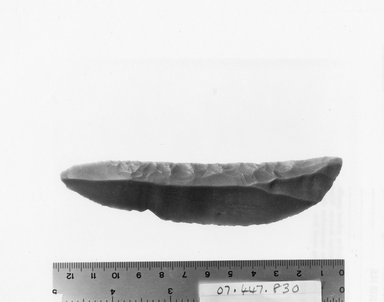 <em>Blade</em>, ca. 4400-3100 B.C.E. Chert, 1 1/8 x 4 7/8 in. (2.8 x 12.4 cm). Brooklyn Museum, Charles Edwin Wilbour Fund, 07.447.830. Creative Commons-BY (Photo: Brooklyn Museum, CUR.07.447.830_negA_print.jpg)