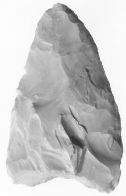 <em>Projectile Point</em>, ca. 4400-2170 B.C.E. Flint, 1 7/16 x Length 2 5/16 in. (3.7 x 5.9 cm). Brooklyn Museum, Charles Edwin Wilbour Fund, 07.447.969. Creative Commons-BY (Photo: , CUR.07.447.969_NegA_print_bw.jpg)