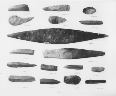 <em>Knife Blade</em>, ca. 4400-2170 B.C.E. Gray-brown chert, 1 1/8 x Length 3 3/8 in. (2.9 x 8.6 cm). Brooklyn Museum, Charles Edwin Wilbour Fund, 07.447.983. Creative Commons-BY (Photo: , CUR.07.447.983_.987_.976_.966_.985_.970_.973_.978_09.889.148_.146_.147_.149_.150_.126_.125_.152_.136_NegID_07.447.966_GRPA_print_bw.jpg)