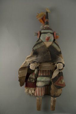 She-we-na (Zuni Pueblo). <em>Kachina Doll (Akjamemeh)</em>, late 19th century. Wood, feather, cotton, fur, string, 16 1/8 x 6 1/8 x 3 11/16in. (41 x 15.6 x 9.4cm). Brooklyn Museum, Museum Expedition 1907, Museum Collection Fund, 07.467.8401. Creative Commons-BY (Photo: Brooklyn Museum, CUR.07.467.8401_front.jpg)