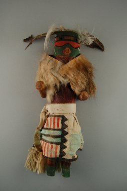 She-we-na (Zuni Pueblo). <em>Kachina Doll (Lassaiyapona)</em>, late 19th century. Wood, cotton, fur, feathers, 12 13/16 x 4 1/8 x 3 5/8in. (32.5 x 10.4 x 9.2cm). Brooklyn Museum, Museum Expedition 1907, Museum Collection Fund, 07.467.8402. Creative Commons-BY (Photo: Brooklyn Museum, CUR.07.467.8402_front.jpg)
