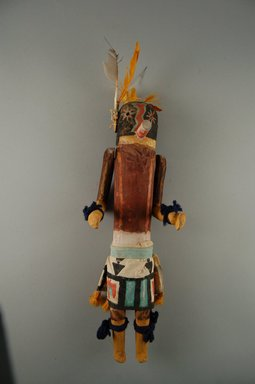 She-we-na (Zuni Pueblo). <em>Kachina Doll (Ona Apona)</em>, late 19th century. Wood, feather, fur, cotton, pigment, 12 5/8 x 4 x 3 11/16in. (32 x 10.2 x 9.4cm). Brooklyn Museum, Museum Expedition 1907, Museum Collection Fund, 07.467.8405. Creative Commons-BY (Photo: Brooklyn Museum, CUR.07.467.8405_front.jpg)