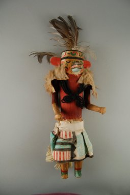 She-we-na (Zuni Pueblo). <em>Kachina Doll (Hi-ti-lih)</em>, late 19th century. Wood, feather, cotton, pigment, 16 9/16 x 4 5/8in. (42 x 11.8cm). Brooklyn Museum, Museum Expedition 1907, Museum Collection Fund, 07.467.8407. Creative Commons-BY (Photo: Brooklyn Museum, CUR.07.467.8407_front.jpg)