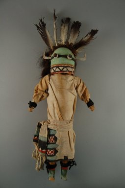 She-we-na (Zuni Pueblo). <em>Kachina Doll (Nawikwoh Kokoh Thlama)</em>, late 19th century. Wood, cloth, yarn, feather, 6 3/8 x 2 5/8 x 13 3/8in. (16.2 x 6.7 x 34cm). Brooklyn Museum, Museum Expedition 1907, Museum Collection Fund, 07.467.8408. Creative Commons-BY (Photo: Brooklyn Museum, CUR.07.467.8408_front.jpg)