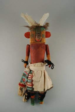 She-we-na (Zuni Pueblo). <em>Kachina Doll (Ouah Thlama)</em>, late 19th century. Wood, feather, cotton, pigment, 13 x 3 7/8 x 4 7/16in. (33 x 9.8 x 11.2cm). Brooklyn Museum, Museum Expedition 1907, Museum Collection Fund, 07.467.8409. Creative Commons-BY (Photo: Brooklyn Museum, CUR.07.467.8409_front.jpg)