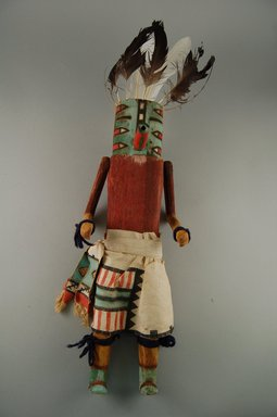 She-we-na (Zuni Pueblo). <em>Kachina Doll (Lakwana Ottoh)</em>, late 19th century. Wood, feathers, cotton, pigment, 15 3/8 x 4 15/16 x 4in. (39 x 12.5 x 10.2cm). Brooklyn Museum, Museum Expedition 1907, Museum Collection Fund, 07.467.8410. Creative Commons-BY (Photo: Brooklyn Museum, CUR.07.467.8410_front.jpg)