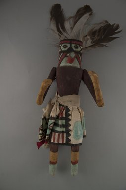 She-we-na (Zuni Pueblo). <em>Kachina Doll (Kjata Che)</em>, late 19th century. Wood, feather, cotton, 12 13/16 x 6 1/16 x 3 5/8in. (32.5 x 15.4 x 9.2cm). Brooklyn Museum, Museum Expedition 1907, Museum Collection Fund, 07.467.8411. Creative Commons-BY (Photo: Brooklyn Museum, CUR.07.467.8411_front.jpg)