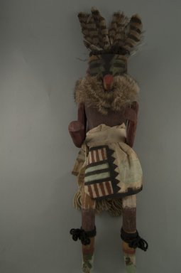 She-we-na (Zuni Pueblo). <em>Kachina Doll (Tsemuche)</em>, late 19th century. Wood, cloth, yarn, fur, feather, 4 5/16 x 4 5/16 x 15 7/16in. (11 x 11 x 39.2cm). Brooklyn Museum, Museum Expedition 1907, Museum Collection Fund, 07.467.8413. Creative Commons-BY (Photo: Brooklyn Museum, CUR.07.467.8413_front.jpg)