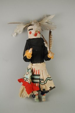 She-we-na (Zuni Pueblo). <em>Kachina Doll (Kotemshe)</em>, late 19th century. Wood, cloth, yarn, feather, pigment, 3 11/16 x 3 7/16 x 11 5/16in. (9.4 x 8.8 x 28.7cm). Brooklyn Museum, Museum Expedition 1907, Museum Collection Fund, 07.467.8418. Creative Commons-BY (Photo: Brooklyn Museum, CUR.07.467.8418_front.jpg)