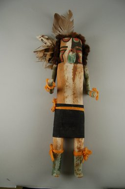 She-we-na (Zuni Pueblo). <em>Kachina Doll (Pa Kokoh)</em>, late 19th century. Wood, feathers, cotton, fur, pigment, 15 3/8 x 4 15/16 x 3 11/16in. (39 x 12.6 x 9.3cm). Brooklyn Museum, Museum Expedition 1907, Museum Collection Fund, 07.467.8420. Creative Commons-BY (Photo: Brooklyn Museum, CUR.07.467.8420_front.jpg)