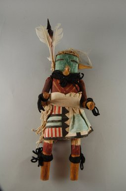 She-we-na (Zuni Pueblo). <em>Kachina Doll (Muluk Takja)</em>, late 19th century. Wood, feather, cotton, pigment, paper, wool yarn, 12 5/8 x 4 13/16 x 3 1/8in. (32 x 12.3 x 8cm). Brooklyn Museum, Museum Expedition 1907, Museum Collection Fund, 07.467.8435. Creative Commons-BY (Photo: Brooklyn Museum, CUR.07.467.8435_front.jpg)