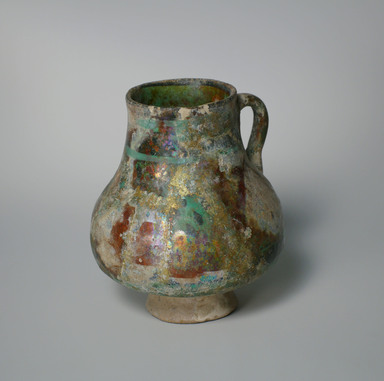 <em>Jug</em>, 13th century. Ceramic, fritware, 6 3/16 x 5 3/16 in. (15.7 x 13.2 cm). Brooklyn Museum, Museum Collection Fund, 08.19. Creative Commons-BY (Photo: Brooklyn Museum, CUR.08.19_view1.jpg)