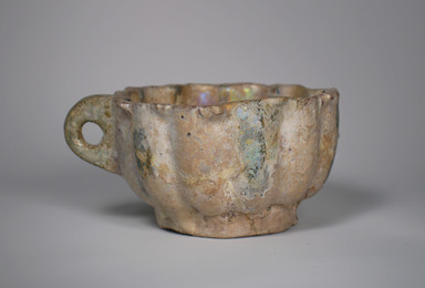<em>Large Cup</em>, 13th century. Ceramic, fritware, 3 5/8 x 5 13/16 in. (9.2 x 14.7 cm). Brooklyn Museum, Museum Collection Fund, 08.21. Creative Commons-BY (Photo: Brooklyn Museum, CUR.08.21_exterior.jpg)